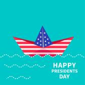 Presidents Day background Paper boat. — Stock Vector