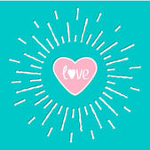 Shining heart and word love inside — Stock Vector