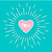Leuchtendes Herz und Wort Liebe innerhalb — Stockvektor