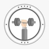 Hand holding dumbell Icon — Stock Vector