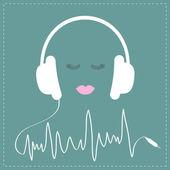 Vita hörlurar med sladd — Stockvektor
