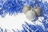 Mavi ve gümüş noel arka plan metin eklemek için — Stok fotoğraf