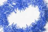 Festive background with blue garland to insert text. — Stock Photo
