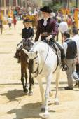 Amazon on horseback at the Jerez fair — Stock Photo