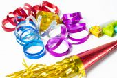 Item for party, colorful serpentine and blowers — Stock Photo