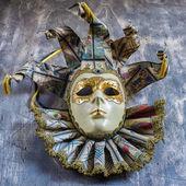 Classical venetian carnival mask on wood — Stock Photo