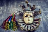Classical venetian carnival mask and blowers — Stock Photo