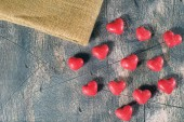 Candy hearts on wooden background — Stock Photo