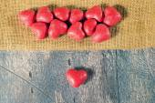 Candy hearts on wooden background — Stockfoto