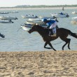 Horse racing on the beaches of Sanlucar — Stock Photo #78234664