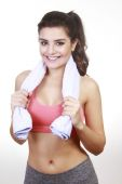 Woman wash with towel — Stock Photo