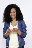 Brunette woman talking on cell phone — Stock Photo