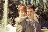 Portrait  redhead  bride and groom   — Stock Photo