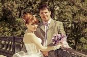 Portrait  redhead  bride and groom — Stock Photo