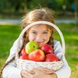 Little girl holding a basket of apples — Stock Photo #57620585