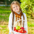 Little girl holding a basket of apples — Stock Photo #57620589