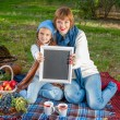 Happy mother with little daughter in autumn park — Stock Photo #57620799