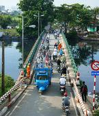 Group of vehicle cross Vietnam bridge — Stock Photo