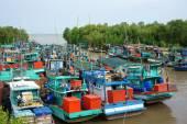 Group fishing boat, Vietnam port — Fotografia Stock