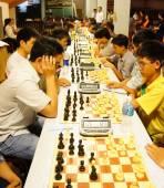 Asian children, chess compete, intelligence sport — 图库照片