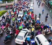 Traffic jam, Asia city,rush hour, rain day — Stok fotoğraf
