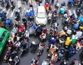 Traffic jam, Asia city,rush hour, rain day — Stock Photo