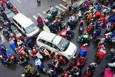 Traffic jam, Asia city,rush hour, rain day — Stockfoto