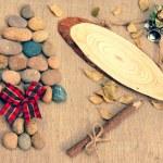 Christmas tree, pebble, wooden pen, Xmas message — Stock Photo #59082405