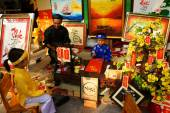Vietnam tet, Asian kid, calligraphy fair — Zdjęcie stockowe