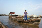 Cai Rang floating market, Mekong Delta travel — Foto Stock