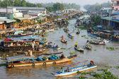 Crowded, Nga Nam floating market, Mekong Delta travel — Stock Photo
