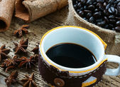 Coffee background, coffee cup, coffee bean — Stock Photo
