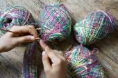 Knitting wool glove christmas present winter — Stock Photo