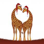 Christmas giraffes — Vector de stock