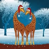 Weihnachten-giraffen — Stockvektor