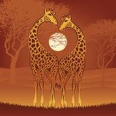 Giraffes on african sunset — Stock Vector