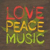 Love peace music poster — Stok Vektör