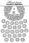 Textured hand drawn alphabet — Stock Vector