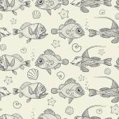 Seamless pattern of marine life — Stock Vector