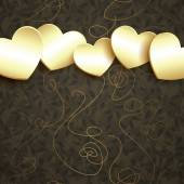 Golden hearts design — Vector de stock