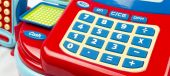 Keypad number on toy cash register - selective focus — Stock Photo