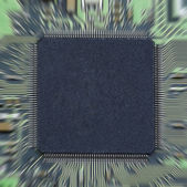 Microchip on printed circuit board with motion blur — Stock Photo
