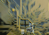 Background of printed circuit board with motion blur — Stock Photo