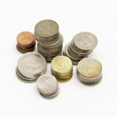 Stack of coins isolated on white — Stock Photo