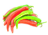 Group of mix chili peppers isolated on white background as package design element — Stock Photo