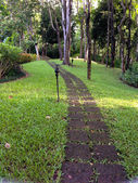 The stone block walk path in the park — Stock Photo