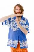 Model gesturing break sign — Stock Photo
