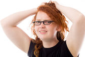 Model stressed and pulling hairs — Stock Photo