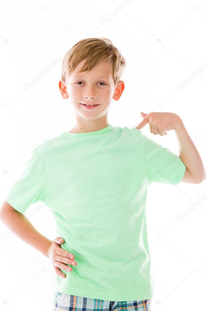 Boy pointing to himself — Stock Photo © Bruno135 #56371143