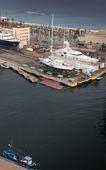 High angle view of Yacht at marina, Barcelona, Catalonia, Spain — Stok fotoğraf